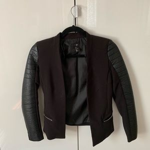 Black blazer with leather sleeves